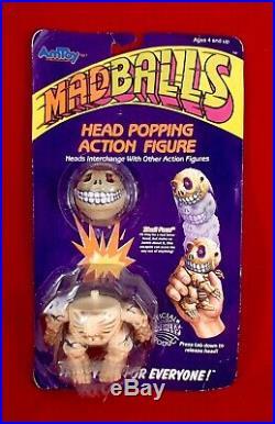 Vtg 1986 MADBALLS HEAD POPPERS Popping Action Figure SKULL FACE skeleton toy MOC
