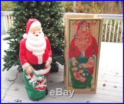 Vtg. Empire 46 Santa Claus Christmas Lighted Blow Mold Toy Sack ORIGINAL BOX