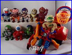 Vtg MADBALLS Head Popping Poppers Action Figure COMPLETE SET & Rollercycle Toy