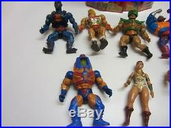 Vtg MOTU Masters Of The Universe He Man Carrying Case Action Figure Toy Lot of 9