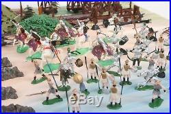 Vtg Marx KNIGHTS & VIKINGS Miniature Play Set w Handpainted Figures, Castle MORE