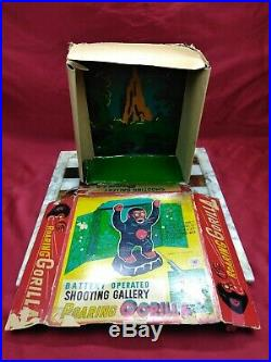 Vtg. Shooting Gallery Roaring Gorilla Tin Litho Figure Modern Toys Japan With Box