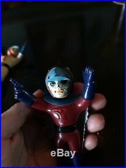 Vtg Sofubi Gatchaman Ken Jun Joe Mini Figure Lot Set Vinyl Japanese Toy Japan
