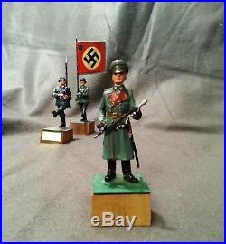 WW II, Vintage Metal Toy German WW2 Soldiers, Painted, Lot OF 3 figures